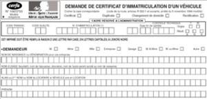 Description du formulaire pour une demande de carte grise
