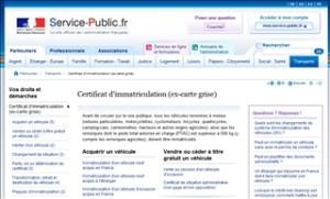 Information du service public sur la carte grise