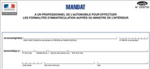 Mandat immatriculation véhicule occasion